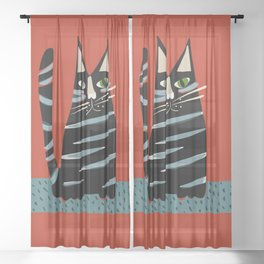 Tabby cat Sheer Curtain