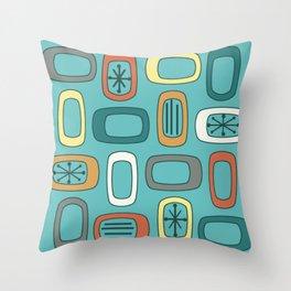 Midcentury MCM Rounded Rectangles Aquamarine Throw Pillow