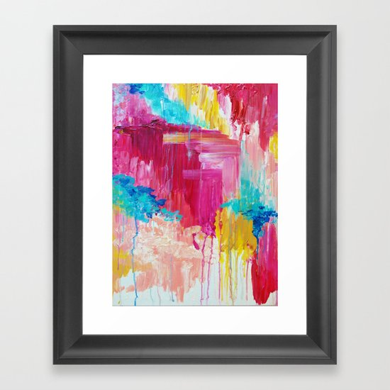 ELATED - Beautiful Bright Colorful Modern Abstract Painting Wild Rainbow Pastel Pink Color by ebiemporium
