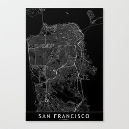 San Francisco Black Map Canvas Print