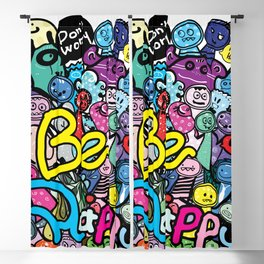 Be Happy doodle monster Blackout Curtain