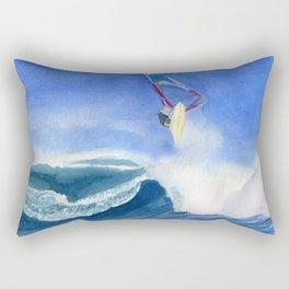 Windsurfer Watercolor Painting Rectangular Pillow