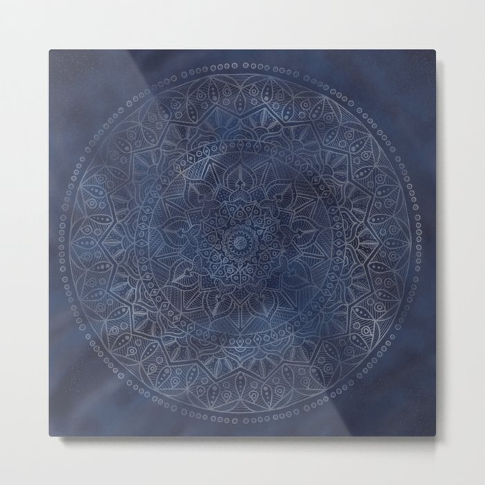 Vintage Circle of Life Mandala full color on blue swirl Distressed Metal Print