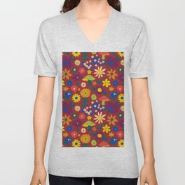60's Country Mushroom Floral in Rust Unisex V-Neck