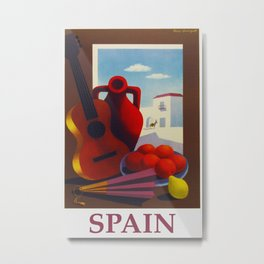 Vintage Spain Travel Poster - Guitar Metal Print