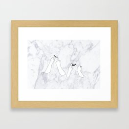 You girls are so pretty, you should smile Marble Framed Art Print