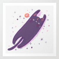 sailormoon Art Prints featuring Sleepy Luna by Suni