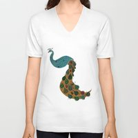 florence V-neck T-shirts featuring Florence the Peacock by Flight of Horace