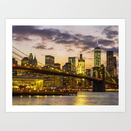 Brooklyn Bridge and Lower Manhattan 2 Art Print