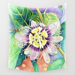 Passiflora edulis f. flavicarpa – Liliko'i, Water Color Wall Tapestry