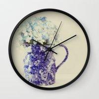 hydrangea Wall Clocks featuring Hydrangea by Beverly LeFevre