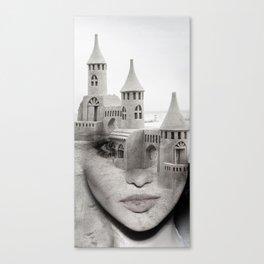 Sand castle. Double exposure portrait Canvas Print