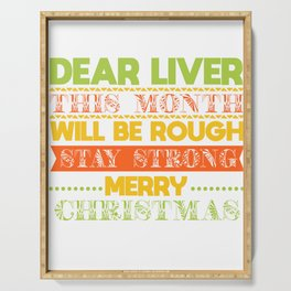 christmas booze beer liver funny gift Serving Tray