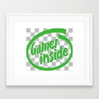 inside gaming Framed Art Prints featuring Gamer iNSIDE by Blondie & Black Boy