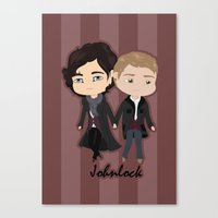 johnlock Canvas Prints featuring Johnlock by Alex Mathews