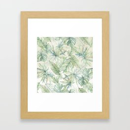 Green Tropical Leaves Framed Art Print