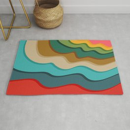 Modern Retro Abstract Color Block Waves / Coral, Yellow, Green, Evergreen, Brown, Khaki, Turquoise, Blumine, Red Rug