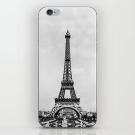 Eiffel tower in B&W with painterly effect iPhone Skin