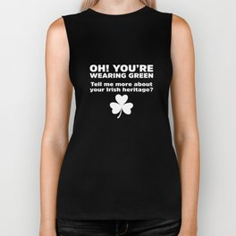 Oh You're Wearing Green Tell Heritage St Patricks Day Biker Tank