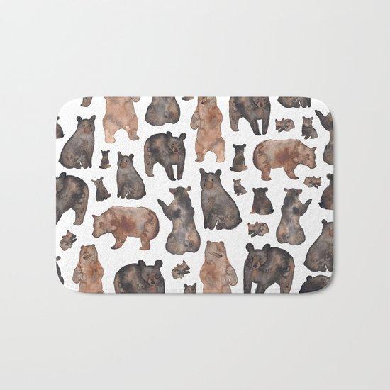 Woodland Bear Pattern Bath Mat