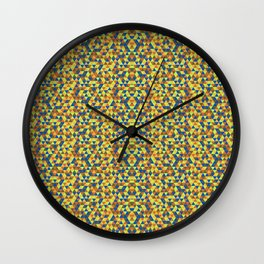 BLUE AND YELLOW MINI RECTANGLES  Wall Clock