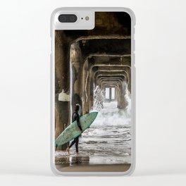 Surfer in Manhattan Beach, California Clear iPhone Case
