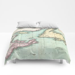 Vintage Map of Nova Scotia and Newfoundland (1807) Comforters