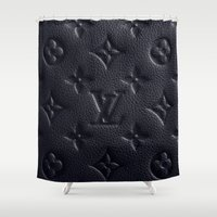 lv Shower Curtains featuring Black LV Logo by Luxe Glam Decor