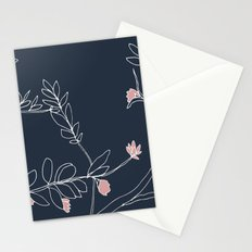 Flora, White and Pink on Navy Blue Stationery Cards