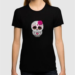 Adorable Pink Day of the Dead Sugar Skull Owl T-shirt