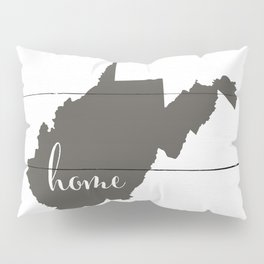West Virginia is Home - Charcoal on White Wood Pillow Sham