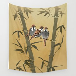 Three Sparrows In Bamboo Tree Wall Tapestry