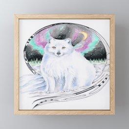 Arctic Polar White Fox Aurora Borealis Stars Ink Framed Mini Art Print