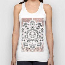 Dreamer Mandala White On Rose Gold Unisex Tank Top