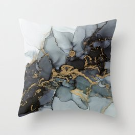 Stormy Black Gold Marble | Abstract Ink Throw Pillow