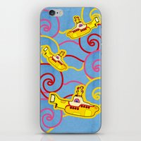 yellow submarine iPhone & iPod Skins featuring Yellow Submarine  by Merch Pug