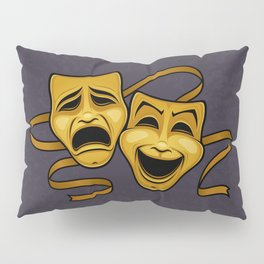 Gold Comedy And Tragedy Theater Masks Pillow Sham