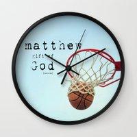 scripture Wall Clocks featuring Matthew Scripture Name Art by KimberosePhotography