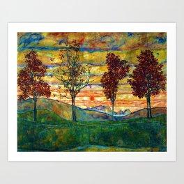 Classical Masterpiece 'Four trees - Quattro alberi' by Egon Schiele Art Print