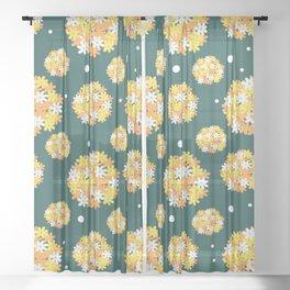 Floral Pattern Bright Petals Sheer Curtain