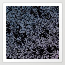 Snaky Fleur, Blue Fade Art Print