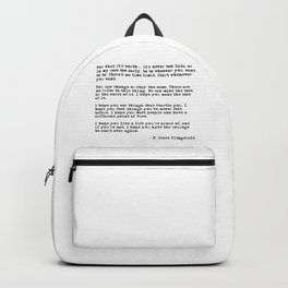 For what it's worth - F Scott Fitzgerald quote Backpack