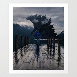 Close Encounter with Godzilla in Lake 3 Art Print