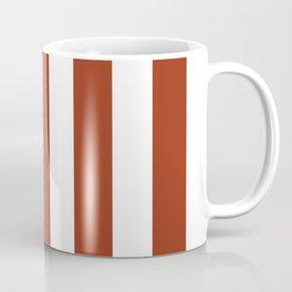 Deep dumpling brown - solid color - white vertical lines pattern Coffee Mug