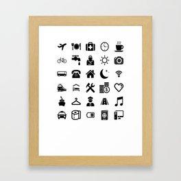 Basic black model: Traveler emoticon help for travel t-shirt Framed Art Print
