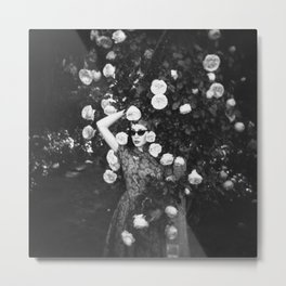 Girl in the Rose Garden - Black and White Film Photograph Metal Print
