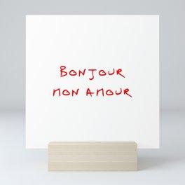 Bonjour mon amour - 4 red Mini Art Print