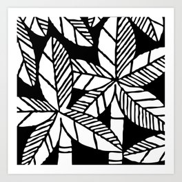 Tropical Palm Tree Composition Black and White Art Print