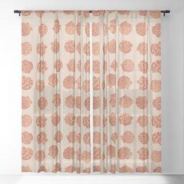 Boho chic beach seashell pattern in burnt orange Sheer Curtain