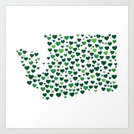 WA State Hearts - Evergreen Palette Art Print